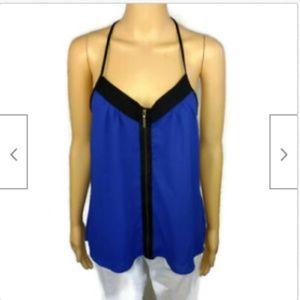 2B Bebe blue zip front halter sleeveless top S